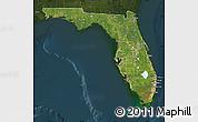 Satellite Map of Florida, darken