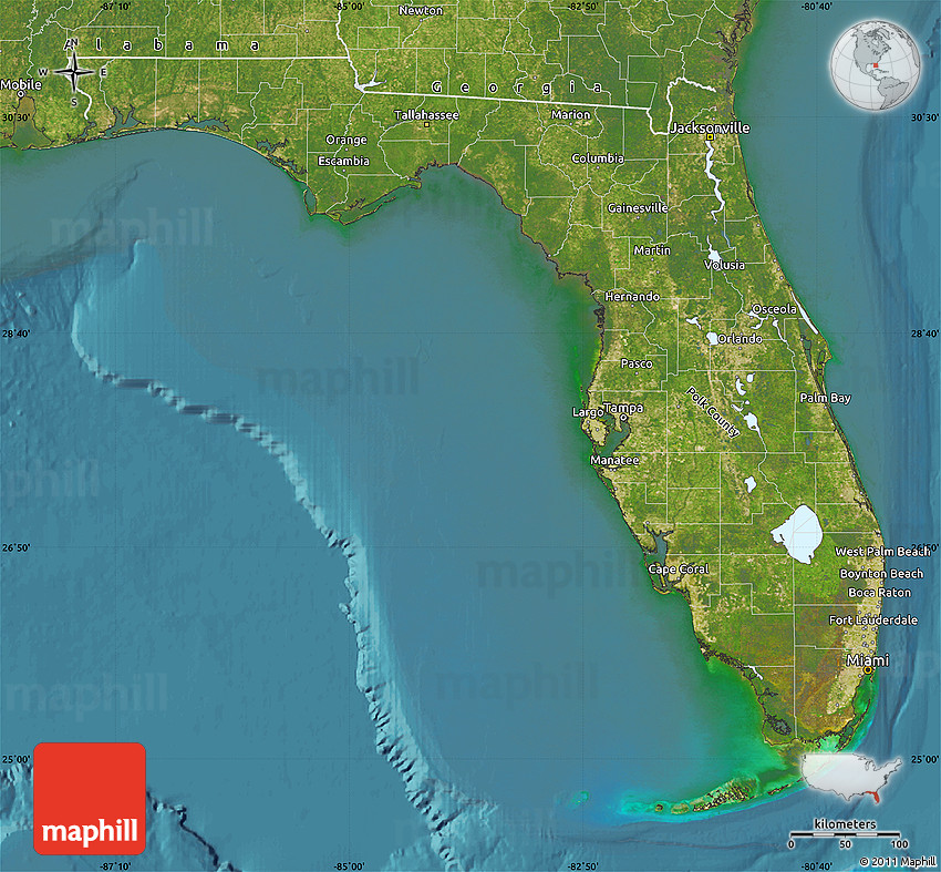 Satellite Map of Florida on florida map with major highways, florida east coast map, florida doppler map, manatee county florida zip code map, florida map auburndale fl in, molino florida map, florida everglades view from space, florida gazetteer, florida cable tv map, florida geology map, florida heat index map, florida energy map, florida telephone map, florida map zoom, florida media markets map, florida technology map, florida interactive radar map, florida map ocala fl, florida fiber optic map, florida entertainment map,