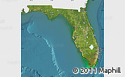 Satellite Map of Florida, single color outside