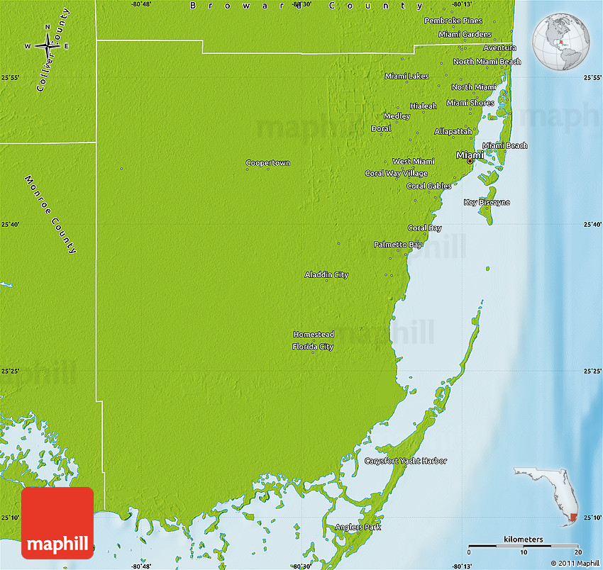 Physical Map Of Miami Dade County - Us-map-miami
