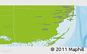 Physical Panoramic Map of Miami-Dade County