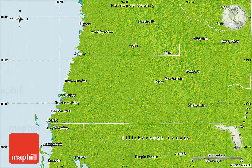 Map Of Pasco County Florida.Physical Map Of Pasco County
