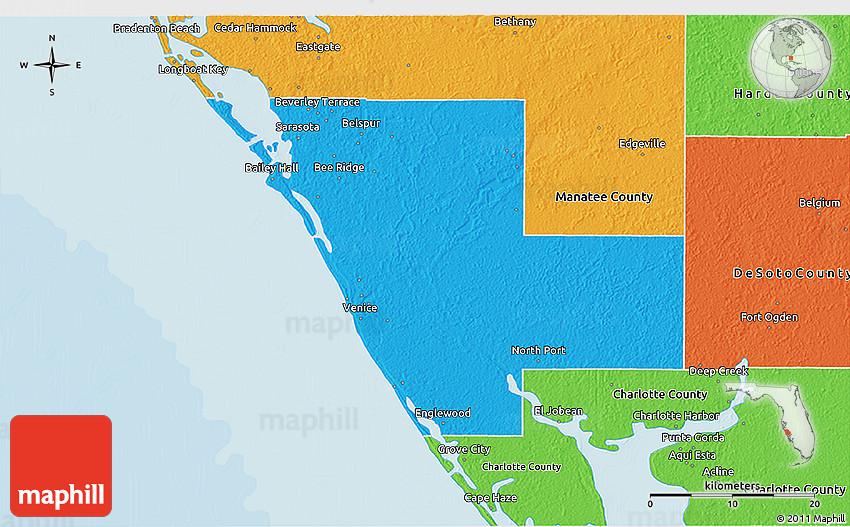 sarasota county elevation map Political 3d Map Of Sarasota County