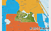 Satellite Map of Seminole County, political outside