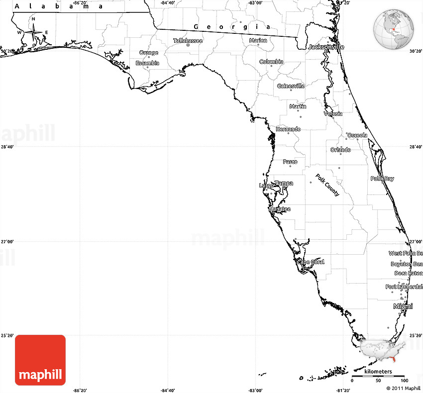 Blank Simple Map Of Florida