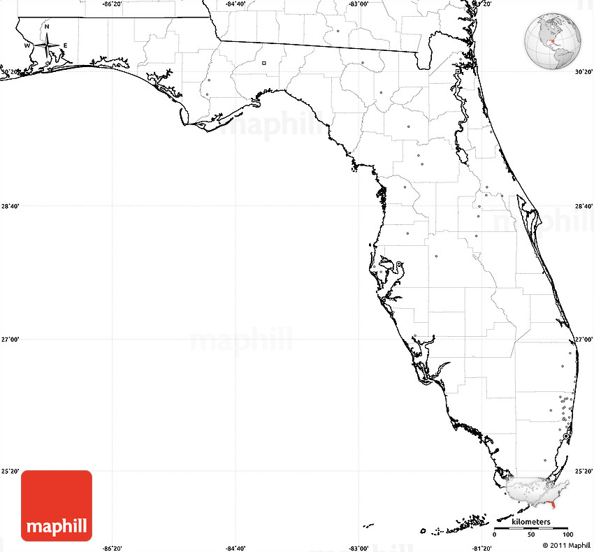 Blank Simple Map of Florida no labels