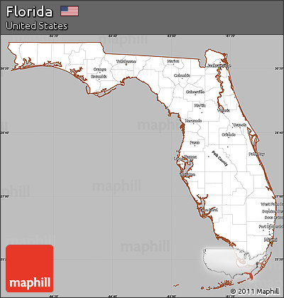 Free Gray Simple Map Of Florida Cropped Outside