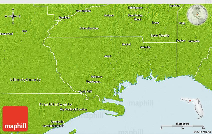 Map Of Wakulla County Florida.Physical 3d Map Of Wakulla County