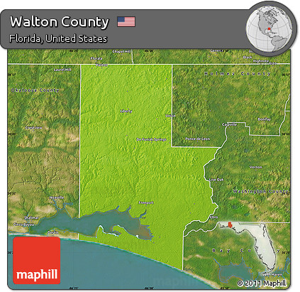 Physical Map Of Florida.Free Physical Map Of Walton County Satellite Outside