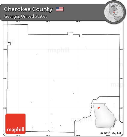 Free Blank Simple Map Of Cherokee County No Labels - Simple map of georgia us