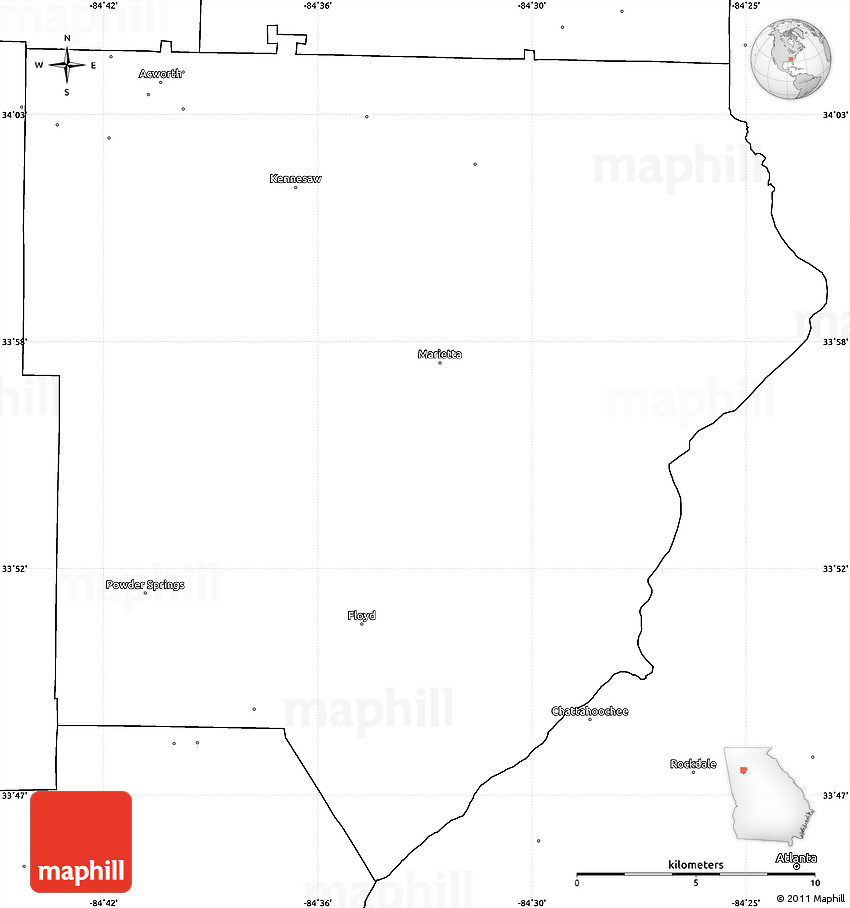 Blank Simple Map of Cobb County