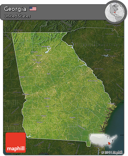 Free Map Of Georgia.Free Satellite Map Of Georgia Darken