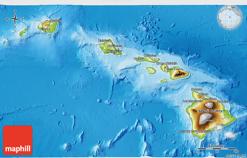 Physical 3D Map of Hawaii