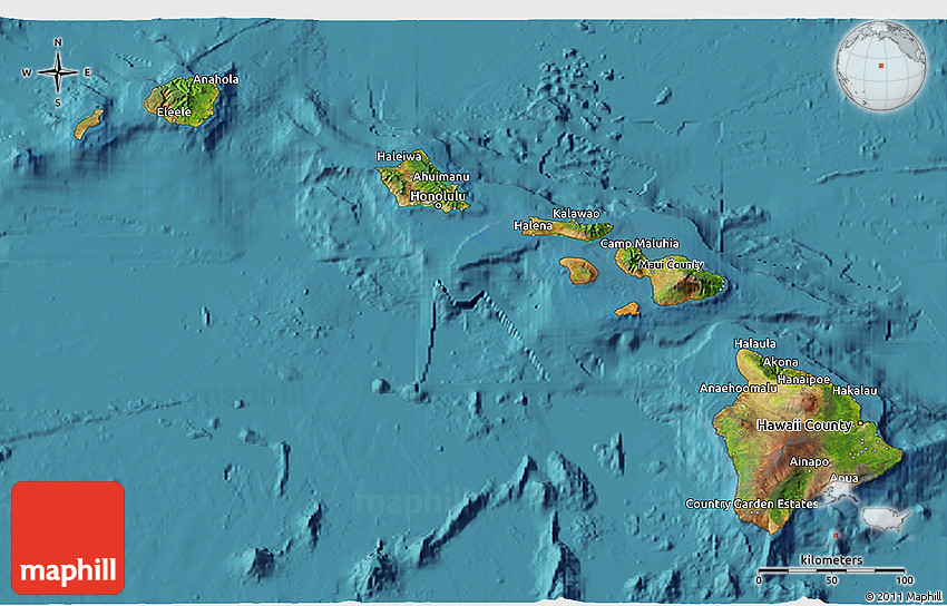 Hawaii Topographic Map 3d | World Map Interactive