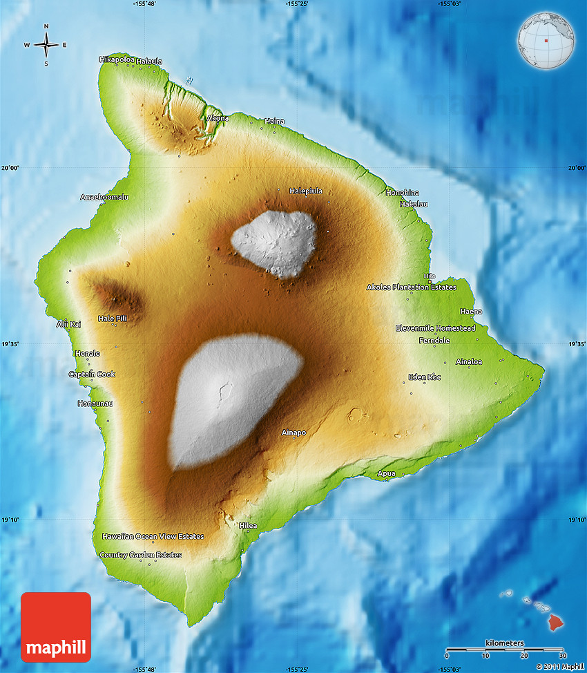 Physical Map of Hawaii County