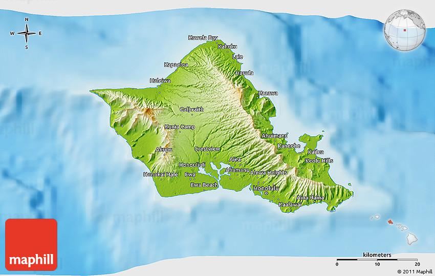 Physical 3D Map of Honolulu County on kona map, paris map, wellington map, lahaina map, hilo map, kauai map, newport beach map, waimea map, baltimore map, pearl harbor map, waikoloa map, hawaii map, san diego map, oahu map, maui map, pearl city map, kahului map, waikiki map, seattle map, hawaiian islands map,