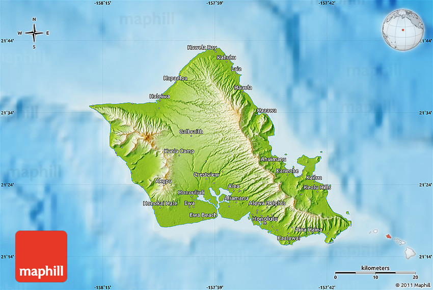 Physical Map Of Honolulu County