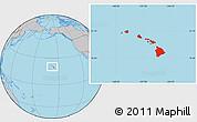 Gray Location Map of Hawaii