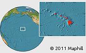 Satellite Location Map of Hawaii