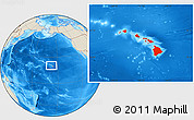 Shaded Relief Location Map of Hawaii