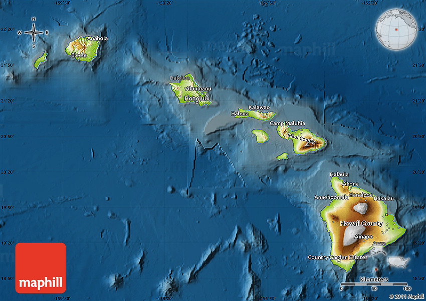 Physical Map Of Hawaii Darken