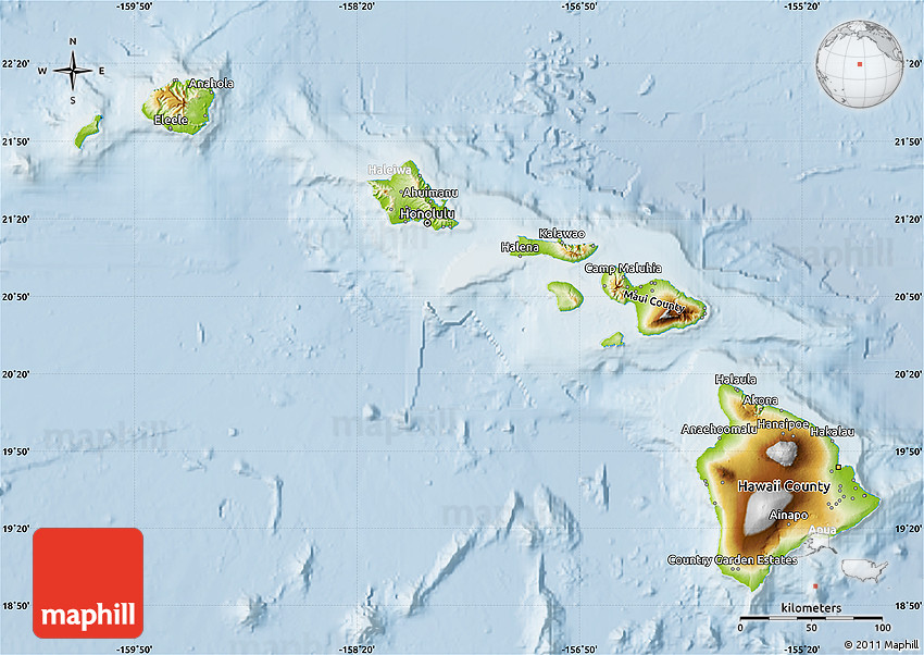 Physical Map of Hawaii lighten