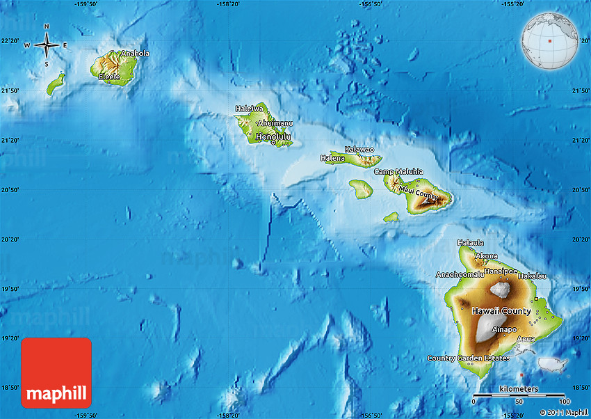 Physical Location Map Of Hawaii Highlighted Country