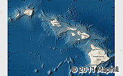 Shaded Relief Map of Hawaii, darken