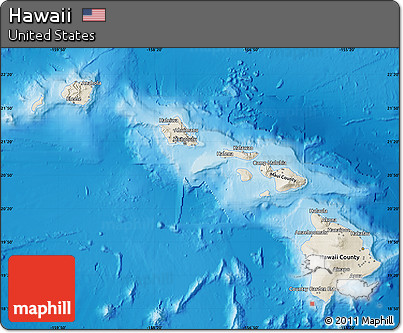 Shaded Relief Map of Hawaii