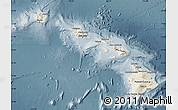 Shaded Relief Map of Hawaii, semi-desaturated