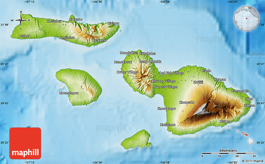 Hawaii Map Maui.Physical Map Of Maui County
