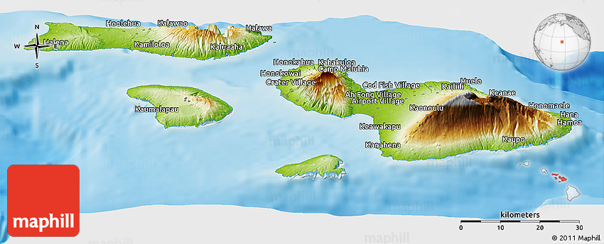 Physical Panoramic Map of Maui County