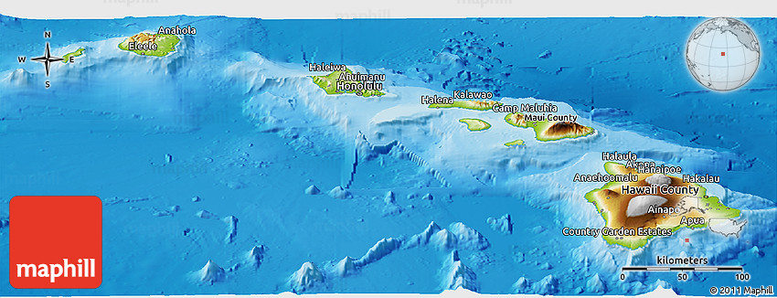 Physical Panoramic Map of Hawaii