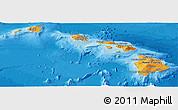 Political Shades Panoramic Map of Hawaii