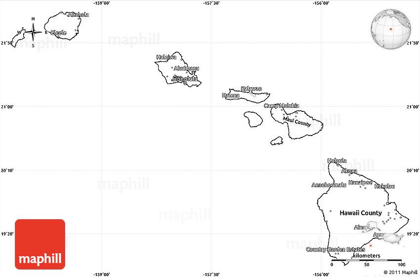 Blank Simple Map Of Hawaii - Blank us map with alaska and hawaii