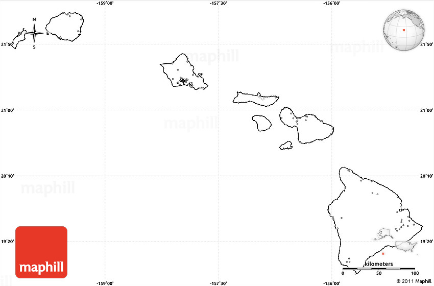 Blank Simple Map Of Hawaii No Labels - Us map without labels