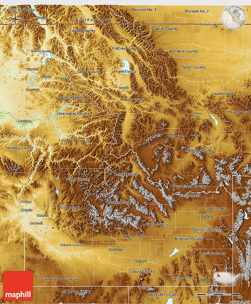 Physical 3D Map of Idaho