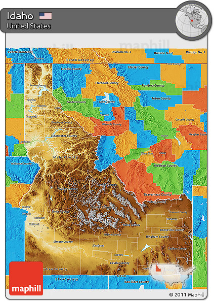 Free Physical D Map Of Idaho Political Outside - Physical map of idaho