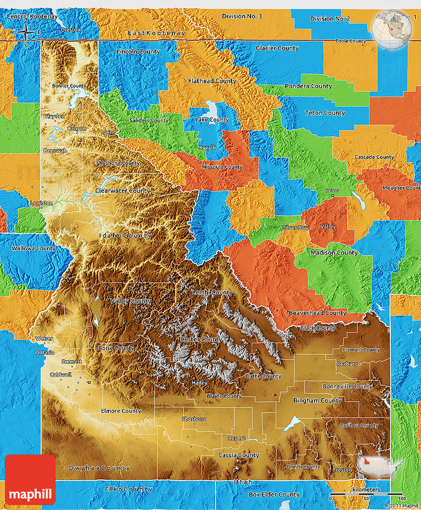 Physical 3D Map Of Idaho Political Outside