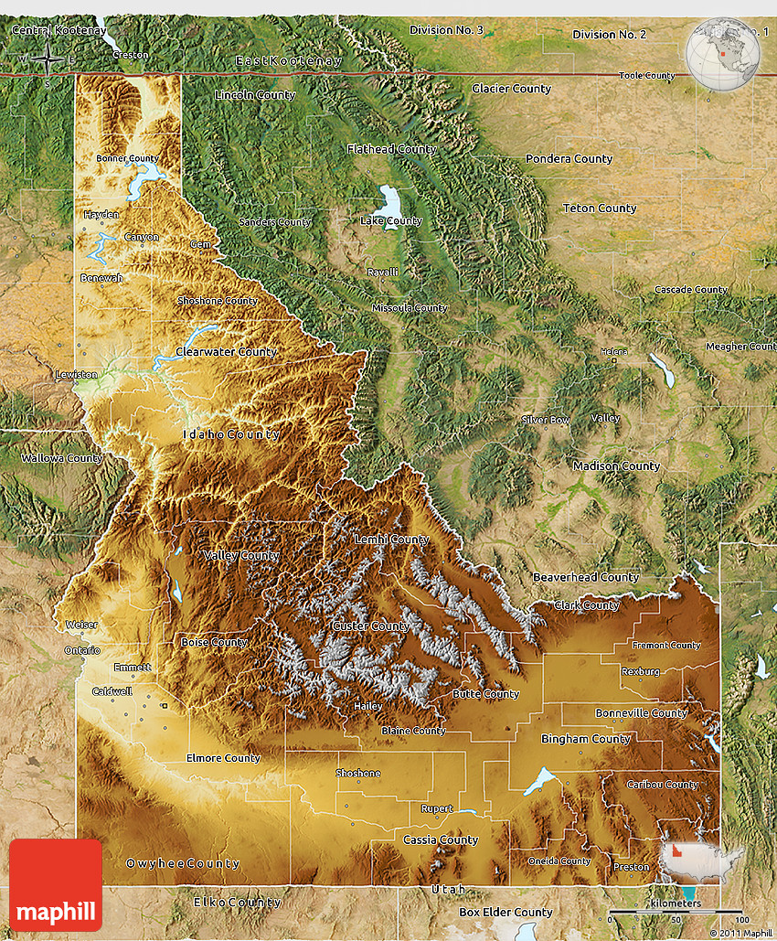 Physical 3D Map of Idaho satellite outside