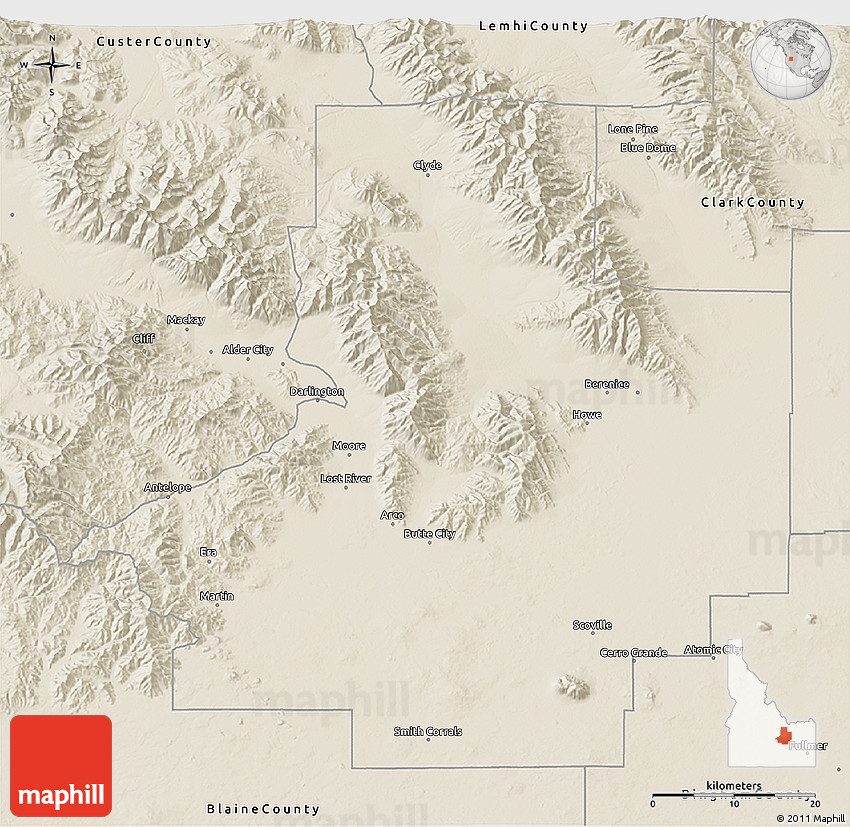 Shaded Relief D Map Of Butte County - Butte county map