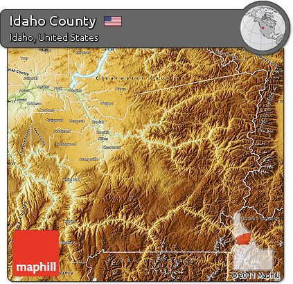 Free Physical Map of Idaho County