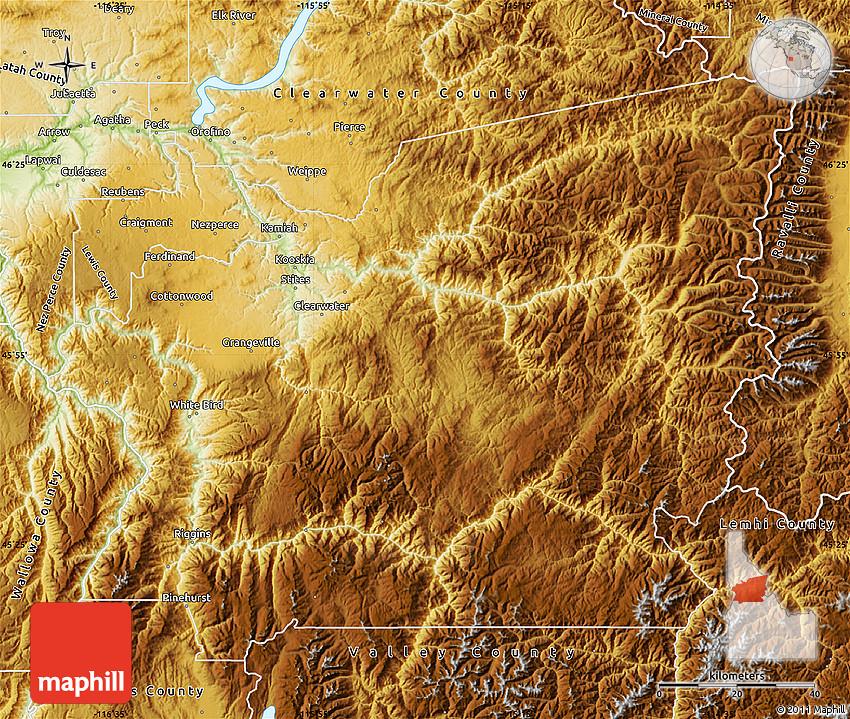 Physical Map of Idaho County