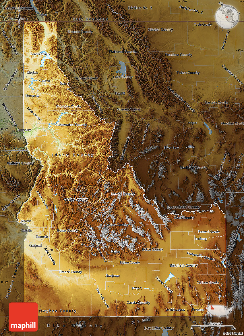 Physical Map of Idaho darken