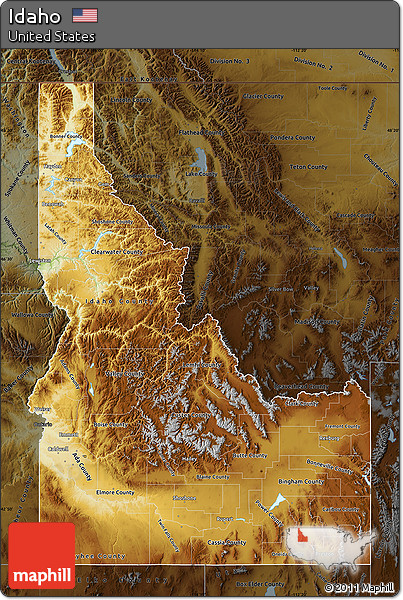 Free Physical Map of Idaho darken