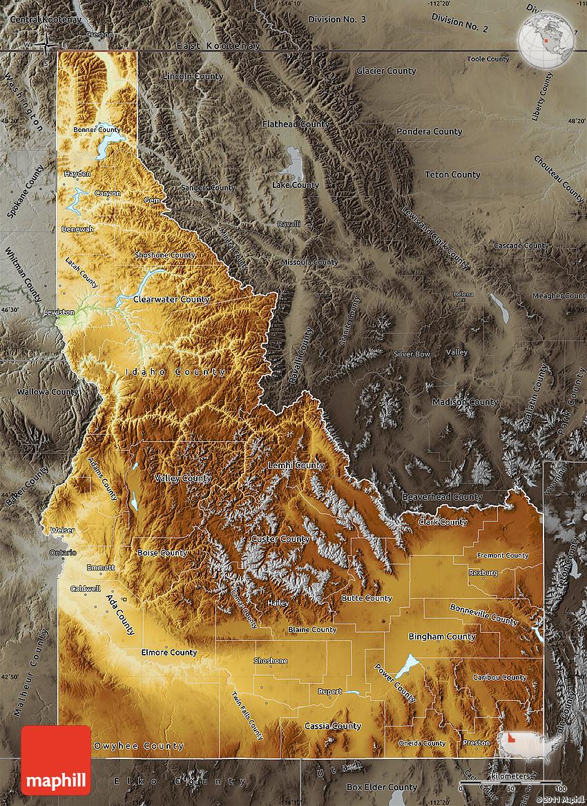 Physical Map of Idaho darken semidesaturated