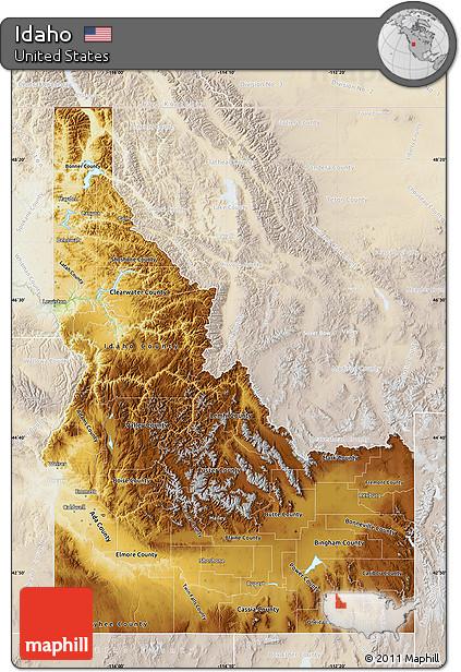 Free Physical Map of Idaho lighten