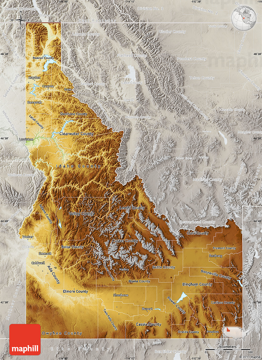 Physical Map of Idaho lighten semidesaturated
