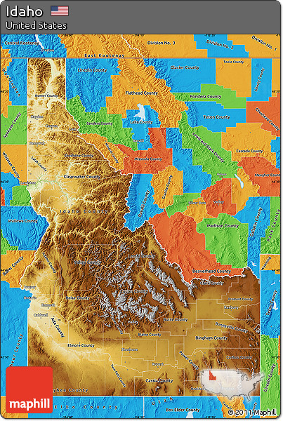 Free Physical Map Of Idaho Political Outside - Physical map of idaho