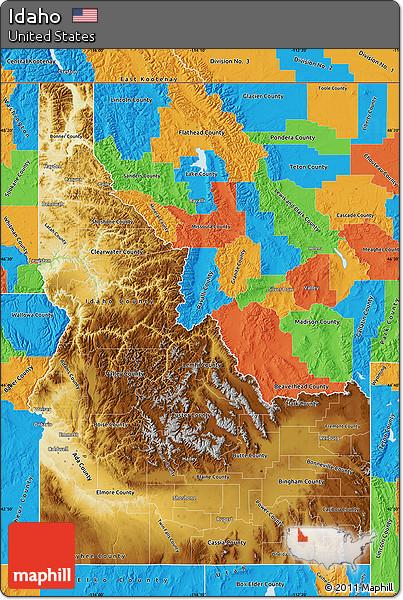 Free Physical Map of Idaho political outside